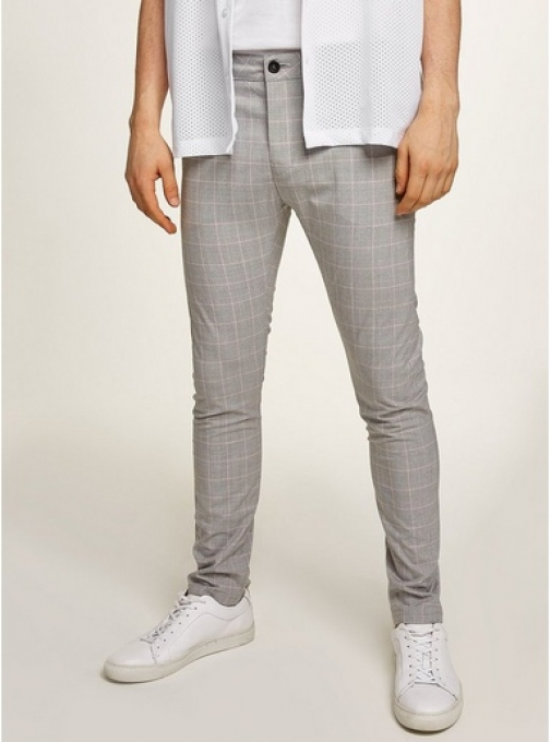 Topman Mens Grey And Pink Check Stretch Skinny Chinos, Grey Trouser
