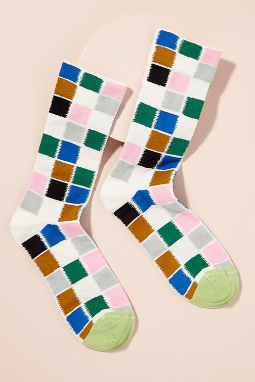 Anthropologie Bonne Maison Carreaux Ankle Sock