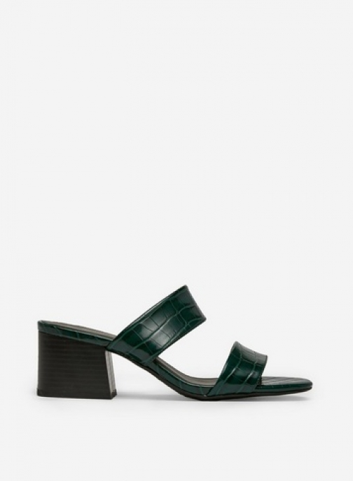 Dorothy Perkins Green 'Boa' Double Strap Crocodile Design Sandals