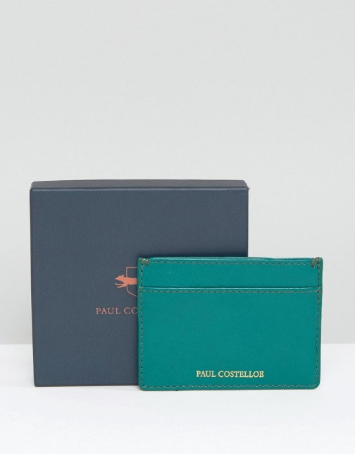 Paul Costelloe Leather Card Holder Green Accessorie