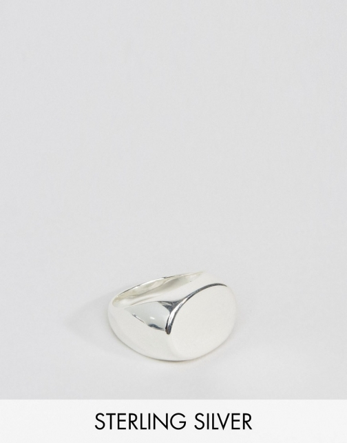 Asos Sterling Silver Oval Signet Ring