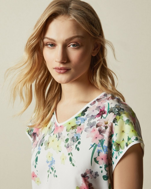 Ted Baker Pergola Woven Front T-Shirt