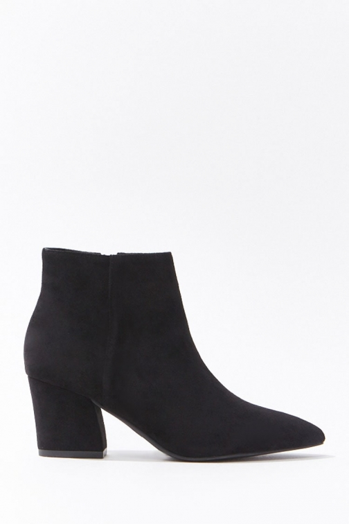 Forever21 Forever 21 Faux Suede Pointed Booties , Black Boot
