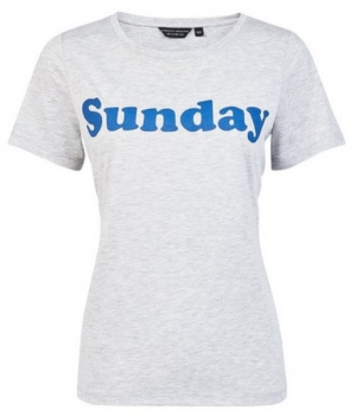 Dorothy Perkins Grey 'Sunday' Motif T-Shirt