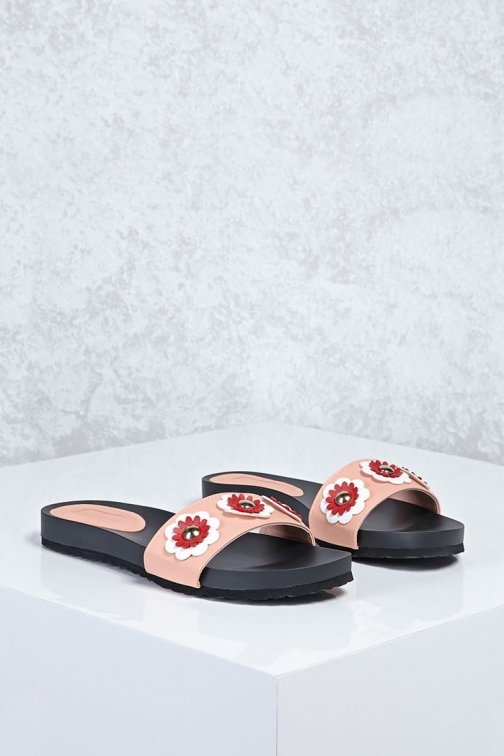 Forever21 Forever 21 Floral Faux Leather , Blush Sandals