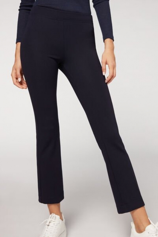 Calzedonia Cropped Flared Woman Blue Size L Legging