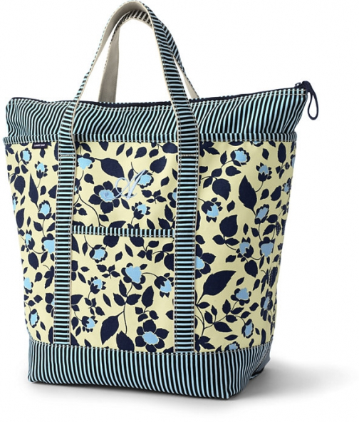 Lands' End All Over Print Large Zip Top Bag - Lands' End - Yellow Tote