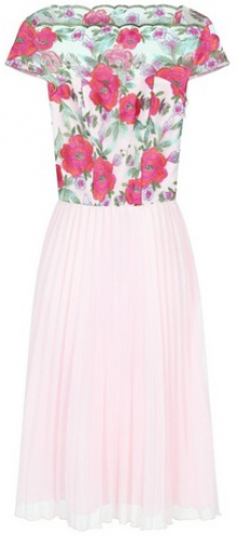 Chi Chi London Pink Floral Embroidered Midi Dress