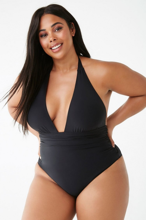 Forever21 Plus Forever 21 Plus Size Plunging One-Piece Black Swimsuit