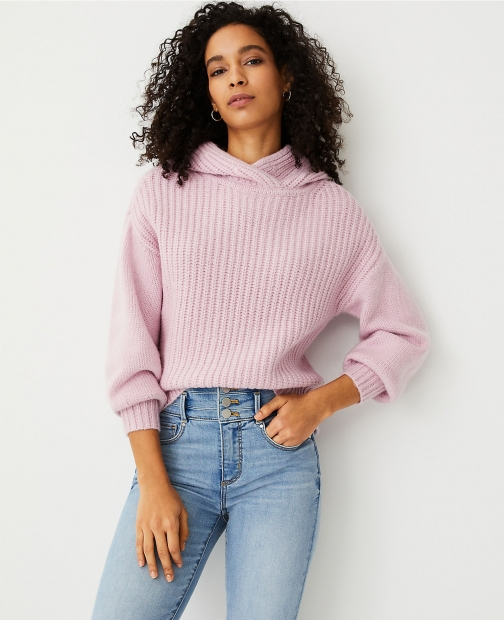 Ann Taylor Ribbed Sweater Hoodie