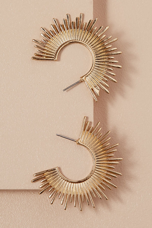 Anthropologie Gold Sunburst Hoops Earring
