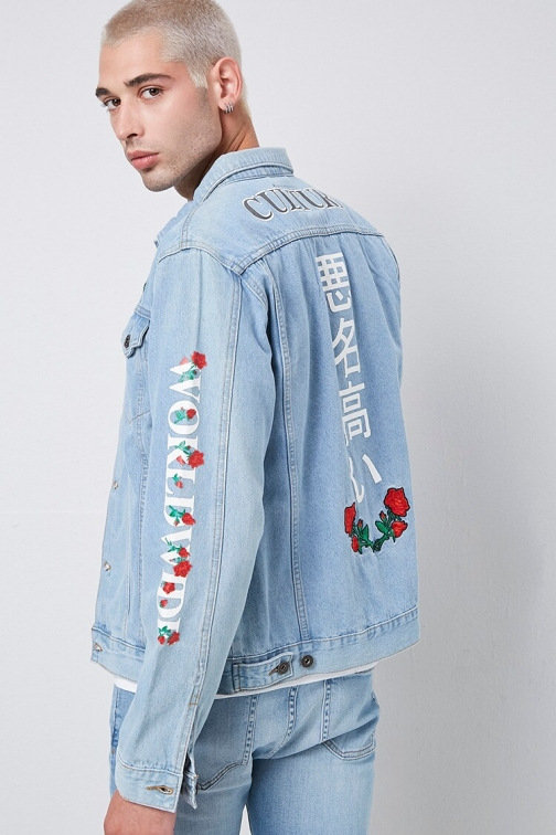 21 Men Culture Rose Embroidered Graphic At Forever 21 , Light Denim/multi Denim Jacket