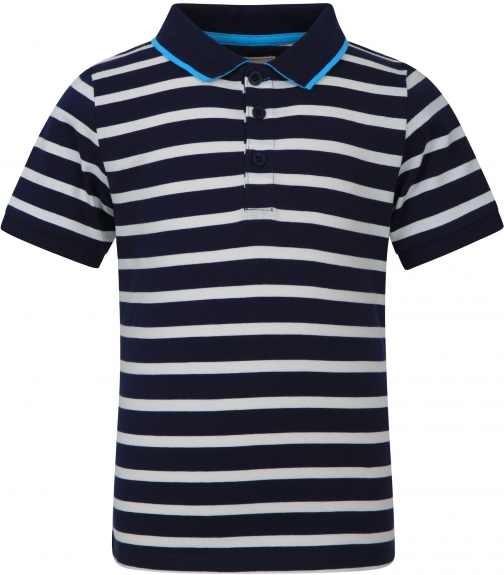 Mountain Warehouse Kids Striped Organic Shirt - Navy/ Red/ Green/ Yellow Polo