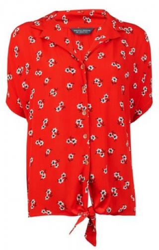 Dorothy Perkins Tall Red Crinkle Ditsy Print Shirt