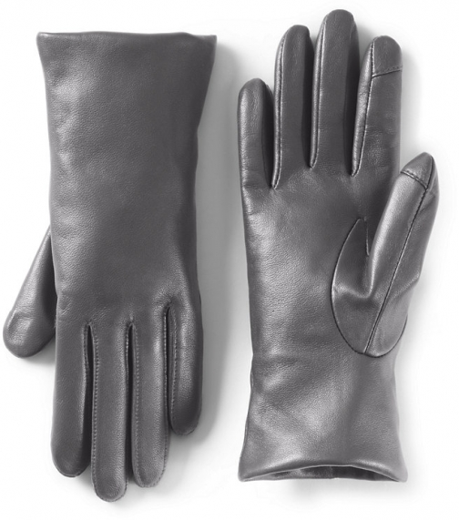 Lands' End Women's EZ Touch Screen Cashmere Lined Leather - Lands' End - Gray - M Glove