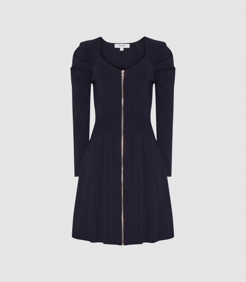 Reiss Mckenzie - Zip Through Navy, Womens, Size XS Knitted Dress