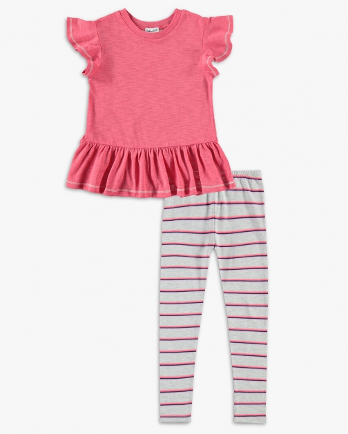 Splendid Little Girl Stripe Gathered Hem Set Top