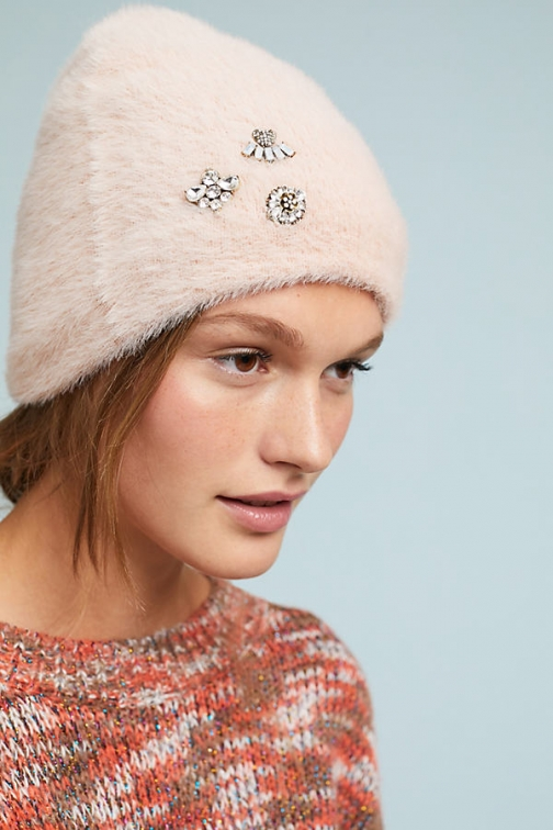 Anthropologie Well-Embellished - Pink Beanie