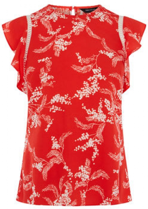Karen Millen Floral Palm Print Top Shirt