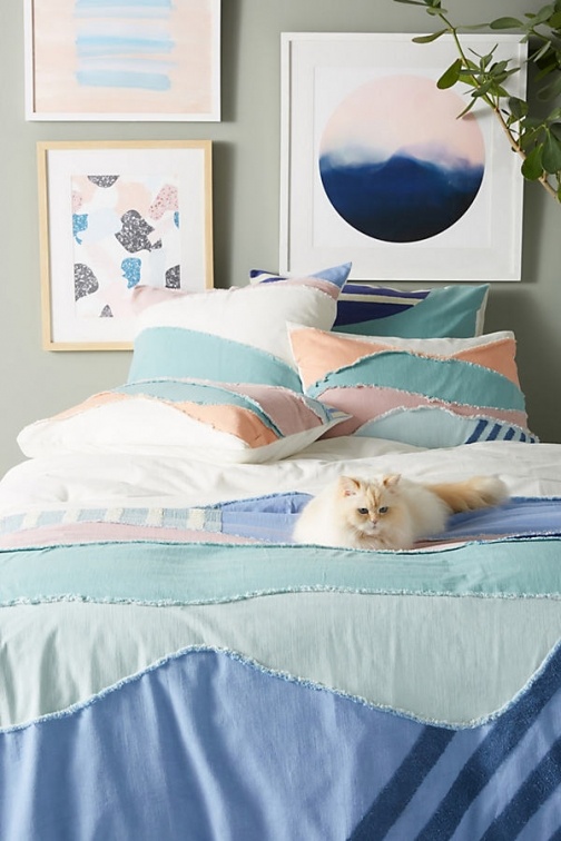 Anthropologie Textured Lovell Duvet Cover - Blue, Size Q /bed Top