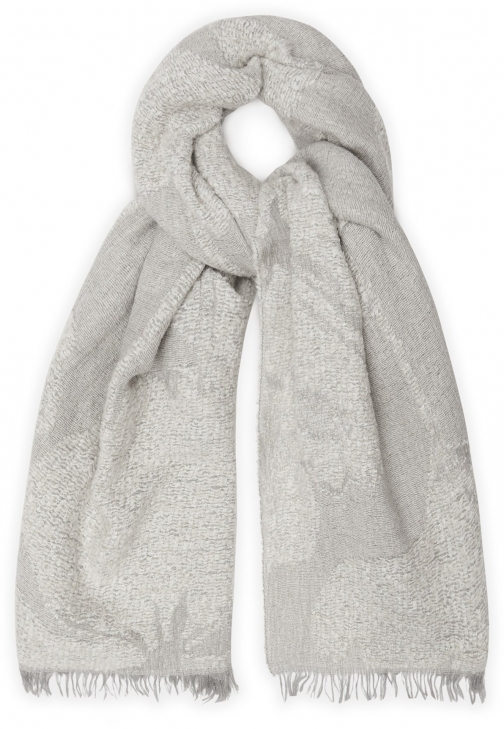 Reiss Lily - Floral Jacquard Grey, Womens Scarf