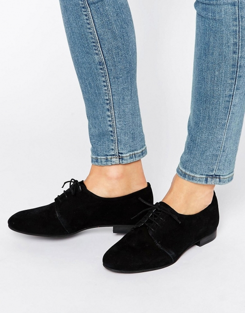 Office Farley Lace Up Suede Flat Shoes