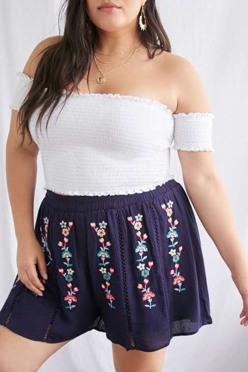 Forever21 Plus Forever 21 Plus Size Floral Embroidered , Navy/multi Short