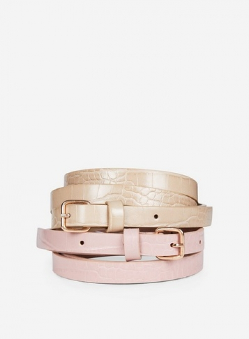 Dorothy Perkins Pink And Cream Croc 2 Pack Belt