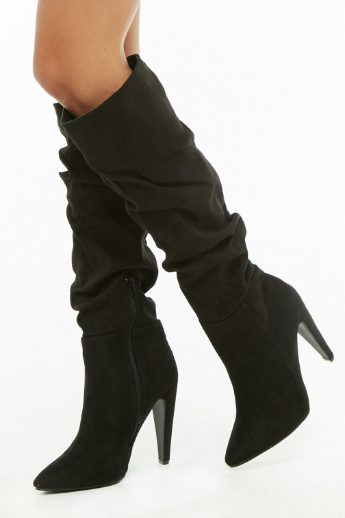 Forever21 Forever 21 Yoki Slouchy Faux Suede , Black Boot