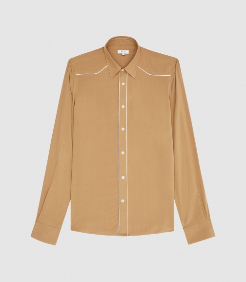 Reiss Calahan - Western Stitch Detail Gold, Mens, Size S Shirt