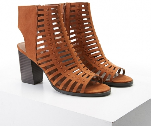Forever21 Forever 21 Faux Suede Cutout , Chestnut Sandals