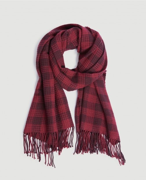 Ann Taylor Factory Checked Fringe Scarf