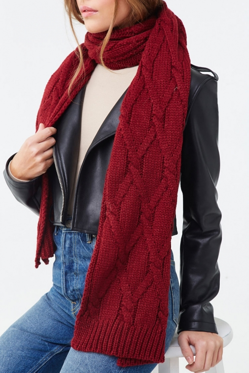Forever21 Forever 21 Cable Knit Oblong , Burgundy Scarf