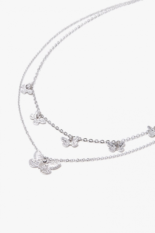 Forever21 Forever 21 Butterfly Charm , Grey Necklace