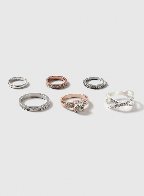 Dorothy Perkins Womens Glitter And Stone Pack- Clear Ring