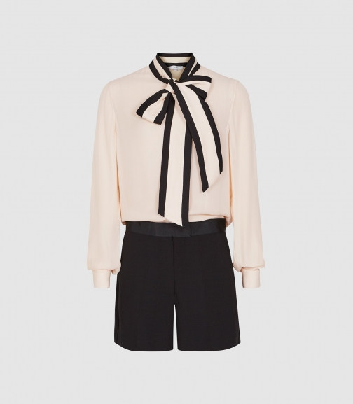 Reiss Tamsin - Bow Detailed White/ Black, Womens, Size 10 Playsuit