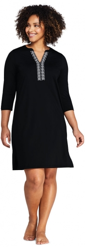 Lands' End Women's Plus Size V-neck 3/4 Sleeve UV Protection Swim Cover-up Dress Embroidered - Lands' End - Black - 1X Swimwear