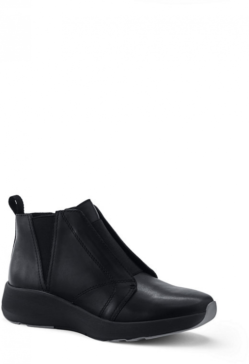 Lands' End Women's Lightweight Comfort Suede Leather Ankle Booties - Lands' End - Black - 6 Boot