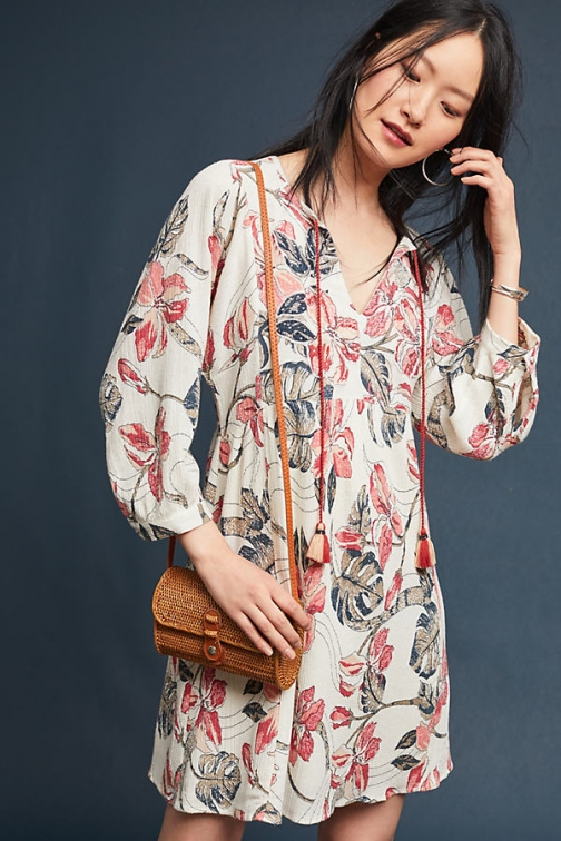 Anthropologie Inverewe Floral - Red, Size Dress