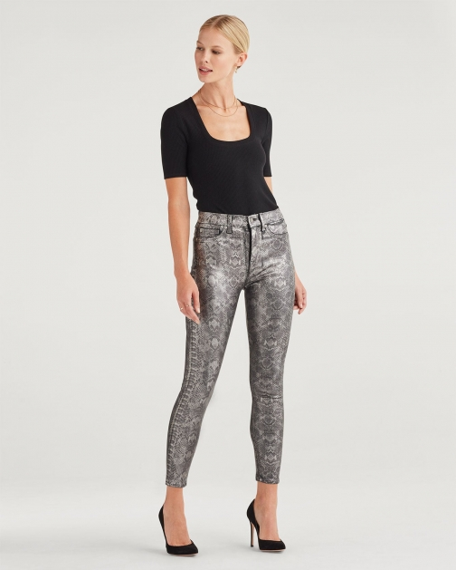 7 For All Mankind Women's High Waist Ankle Skinny Coated Pewter Python Trouser