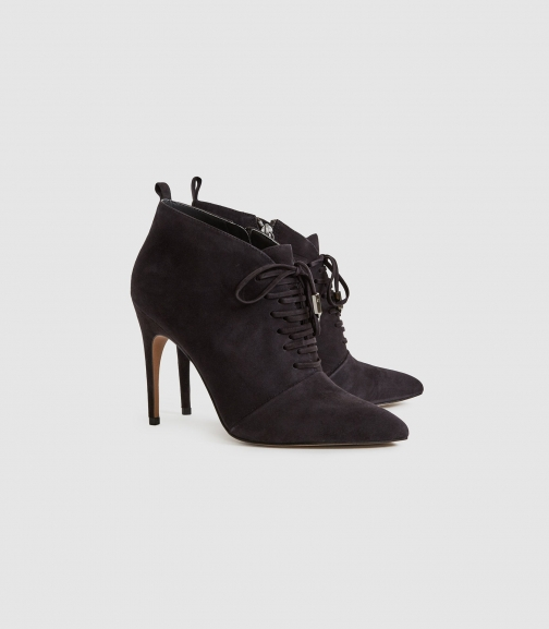 Reiss Aida Suede - Suede Point Toe Lace Up Heels Chocolate, Womens, Size 5 Heeled Sandals