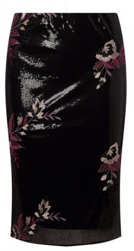 Dorothy Perkins Black Sequin Floral Embroidered Pencil Skirt