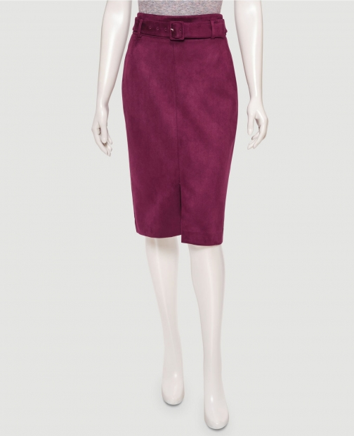 Ann Taylor Factory Petite Faux Suede Belted Pencil Skirt
