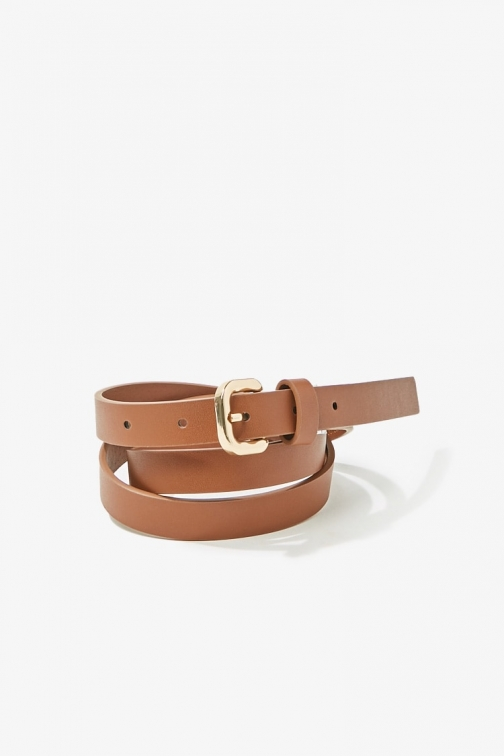 Forever21 Forever 21 Skinny Faux Leather Hip , Brown Belt