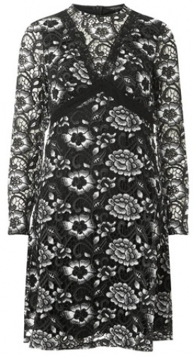 Dorothy Perkins Black Long Sleeve Heavy Lace Fit And Flare Dress