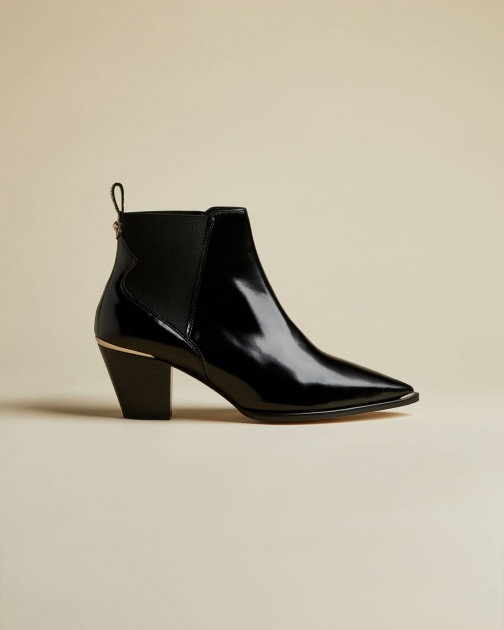 Ted Baker High Shine Western Leather Boot
