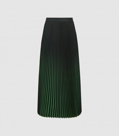 Reiss Marlie - Ombre Pleated Green, Womens, Size 4 Midi Skirt