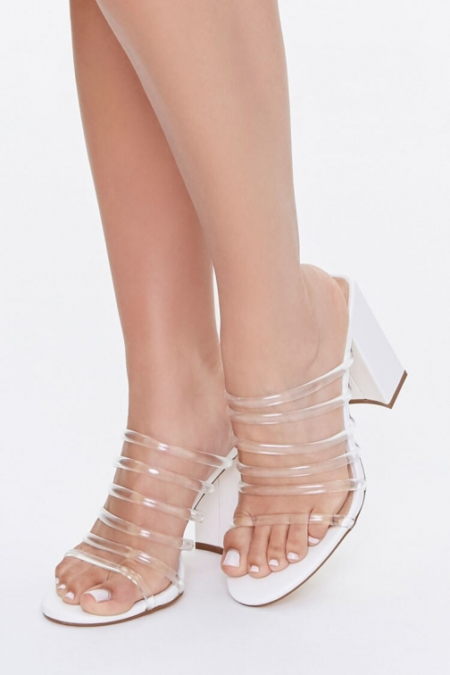 Forever21 Forever 21 Strappy Translucent Block Heels , White Shoes
