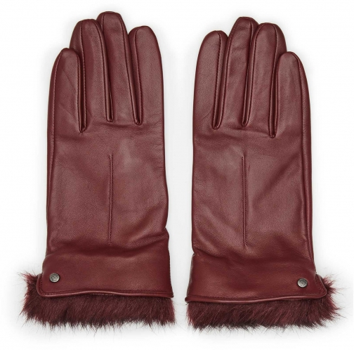 Reiss Dalton - Dents Leather And Faux-fur Ox Blood, Womens, Size M Glove
