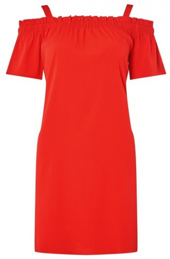 Noisy May Red Cold Shoulder Shift Dress